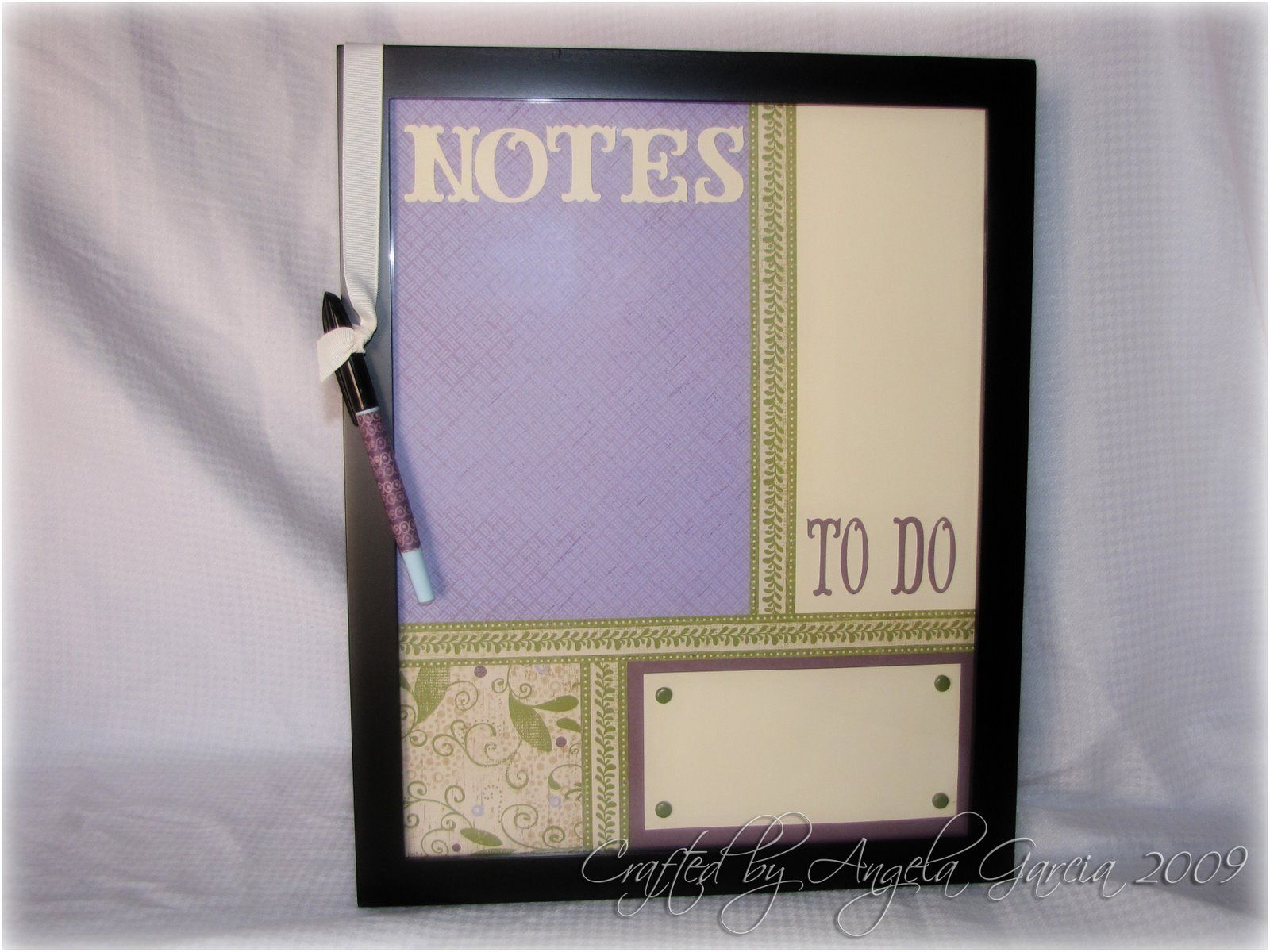 dry erase board using picture frame and scrap book paper! Just design it and put glass on top n dry erase