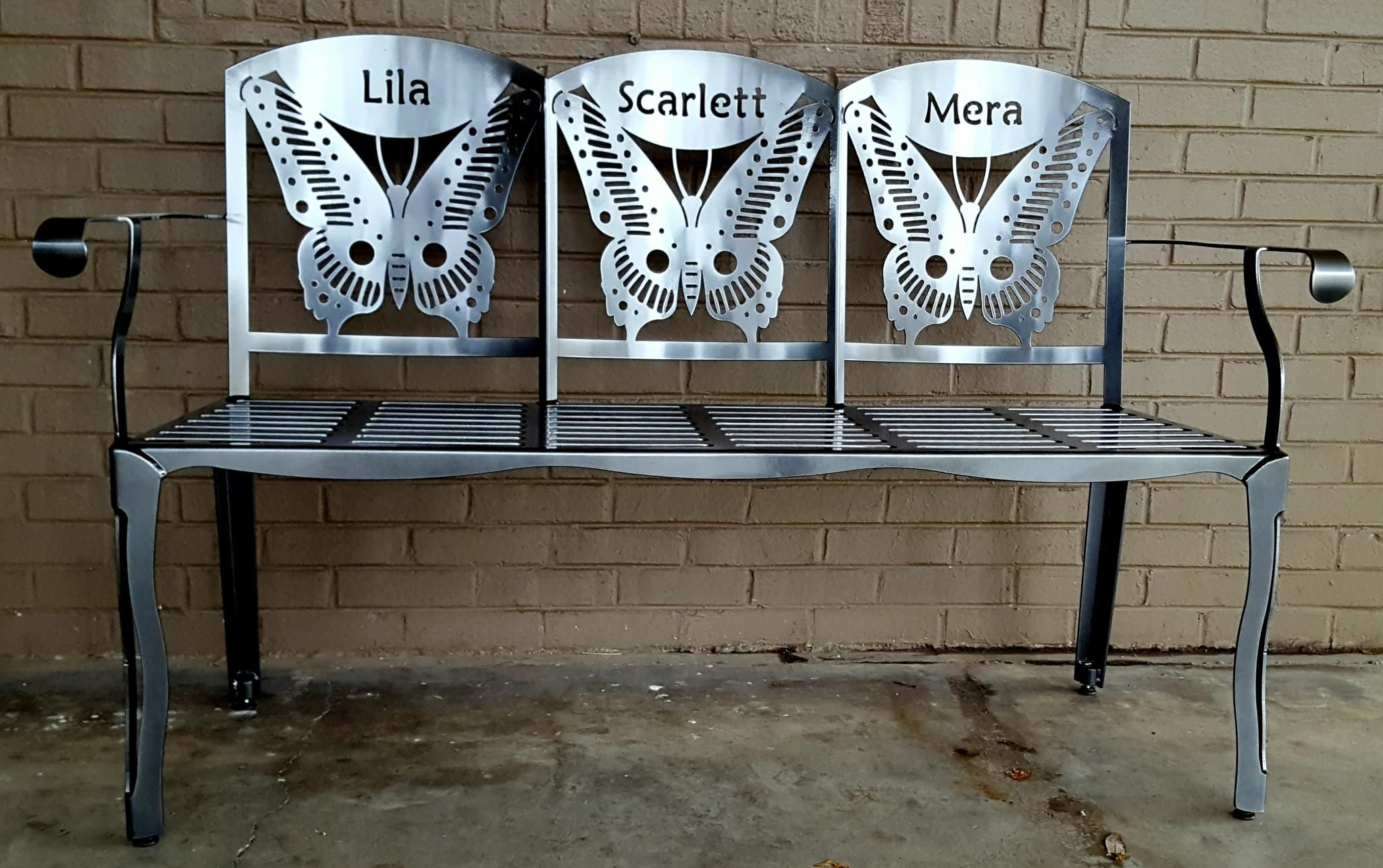 Our Butterfly Tnt Bench Can Be Customized To Include Your Name Or The Names Of The Grandchildren That Makes An Ex Metal Bench Grandparent Gifts Bench