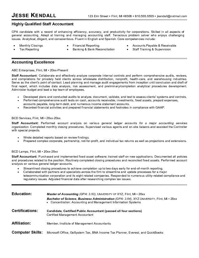 Staff Accountant Resume Example -   topresumeinfo/staff - supervisory accountant sample resume
