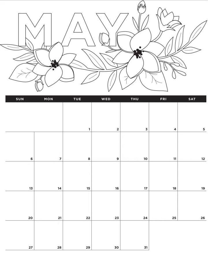 Coloring May 2018 Calendar Editable Calendar 2018 In 2018