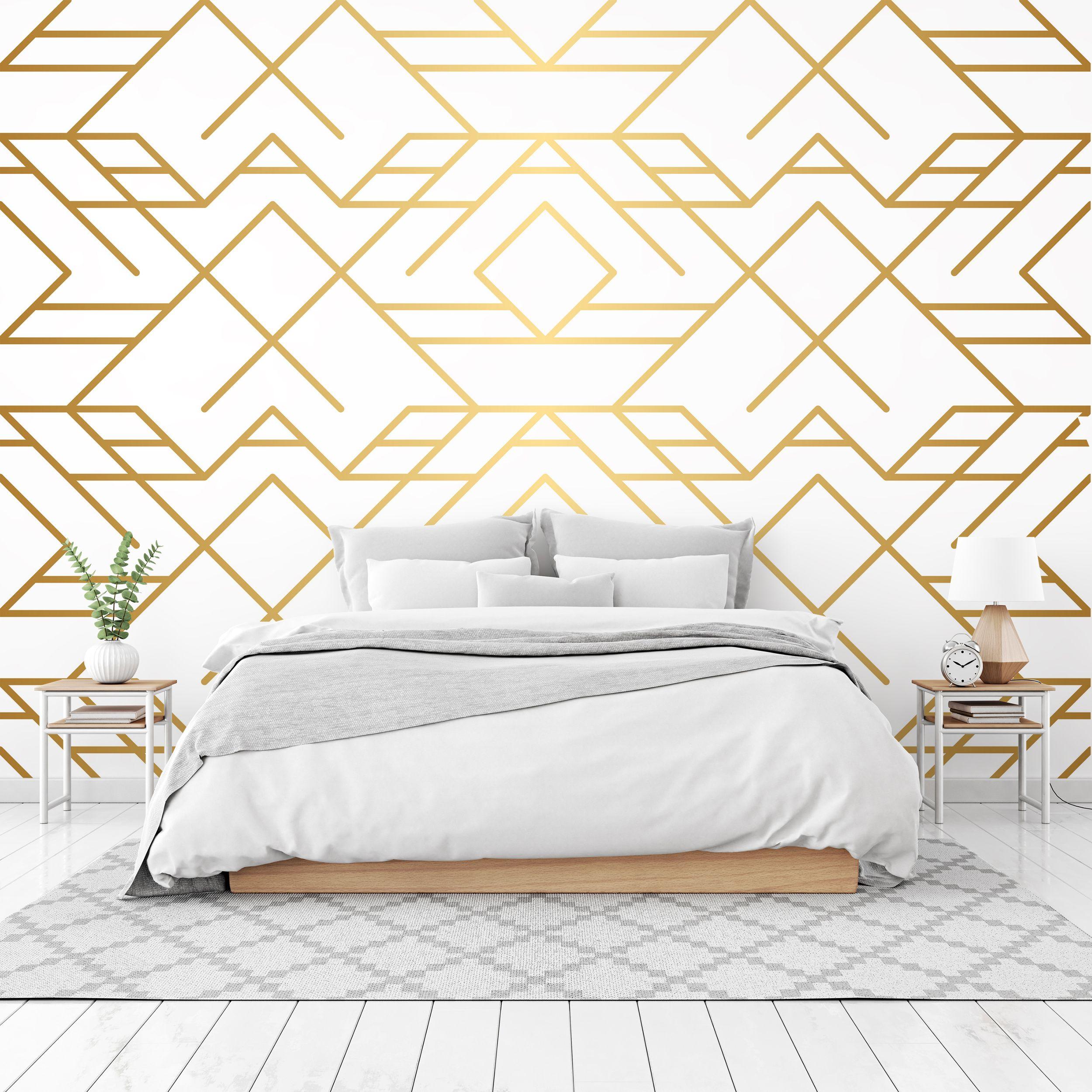 Wall mural Golden texture. seamless geometric pattern