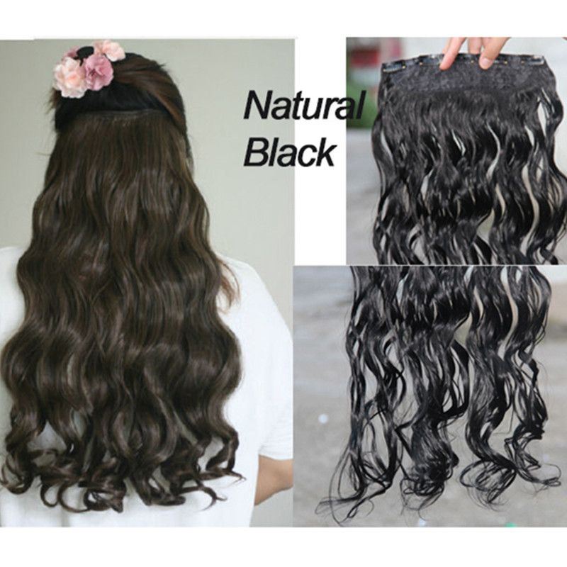 Full Shine One Piece Clip Hair Extensions Natural Hair 34 Full Head