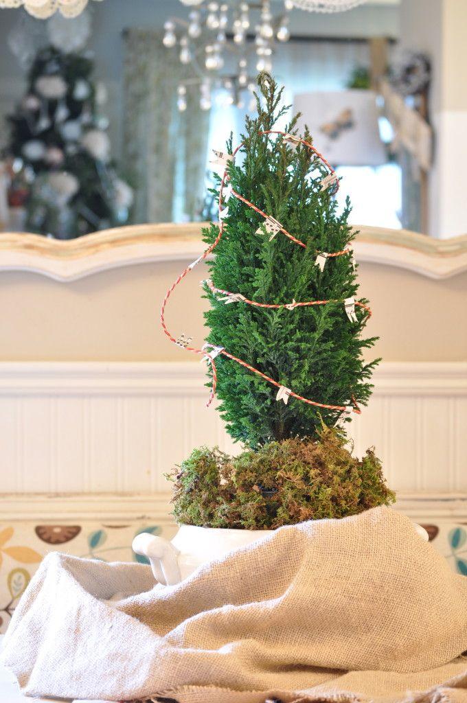 decorating mini trees with mini flag bunting