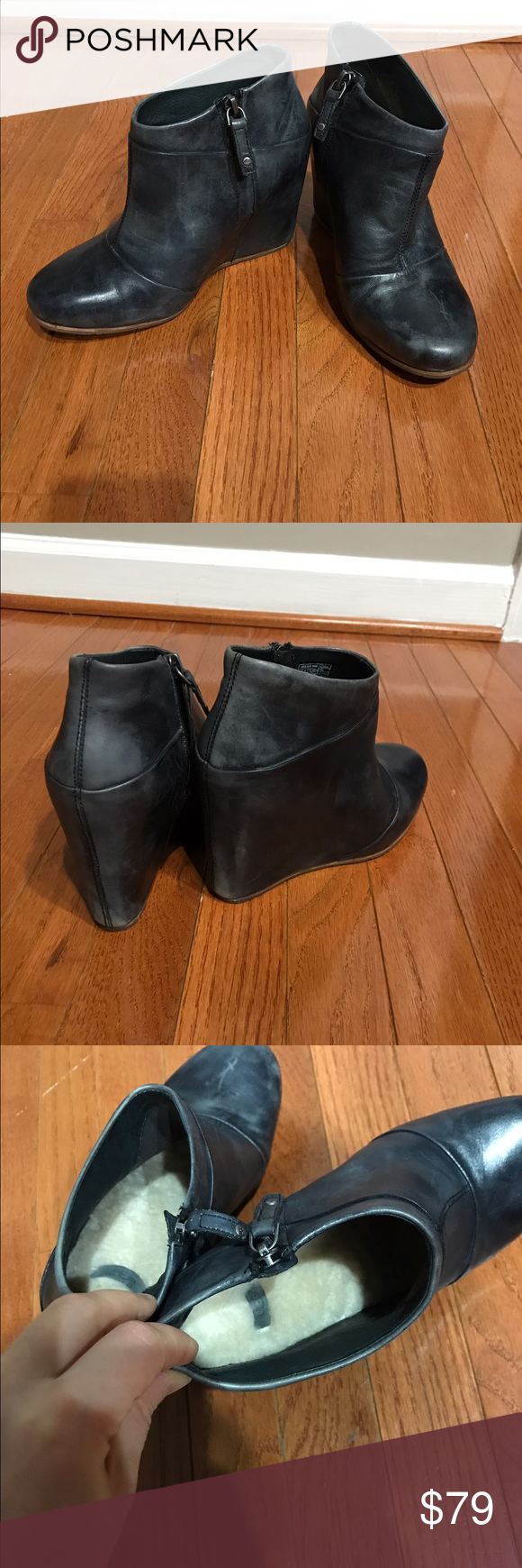 e7a71a537bf Ugg Carmine Wedge Ankle Booties Size 7 They re worn a few times. Grayish  black leather booties are size 7