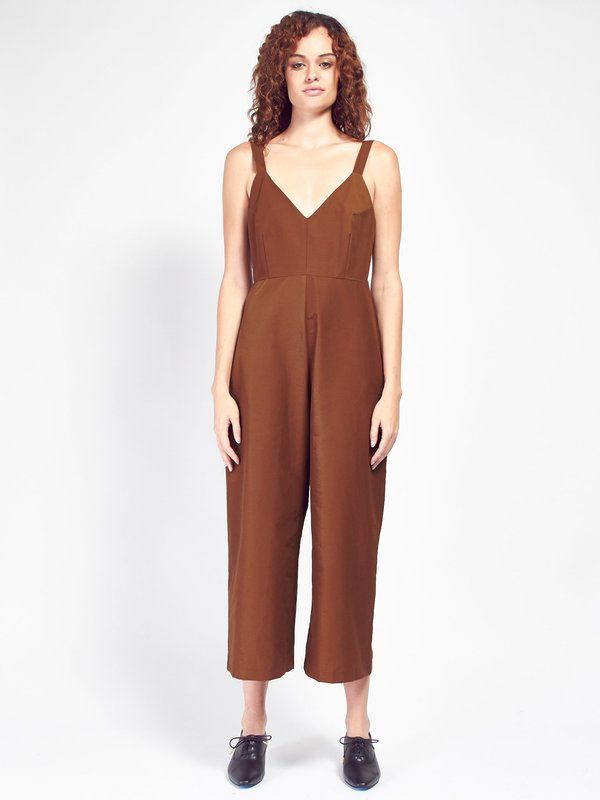 35f5e2c34cb5 Ali Golden Grosgrain Jumper - Caramel. Wide leg jumpsuit with a fitted top  featuring wide straps and a V-neckline. • Fits true to size • Back zipper  closure ...