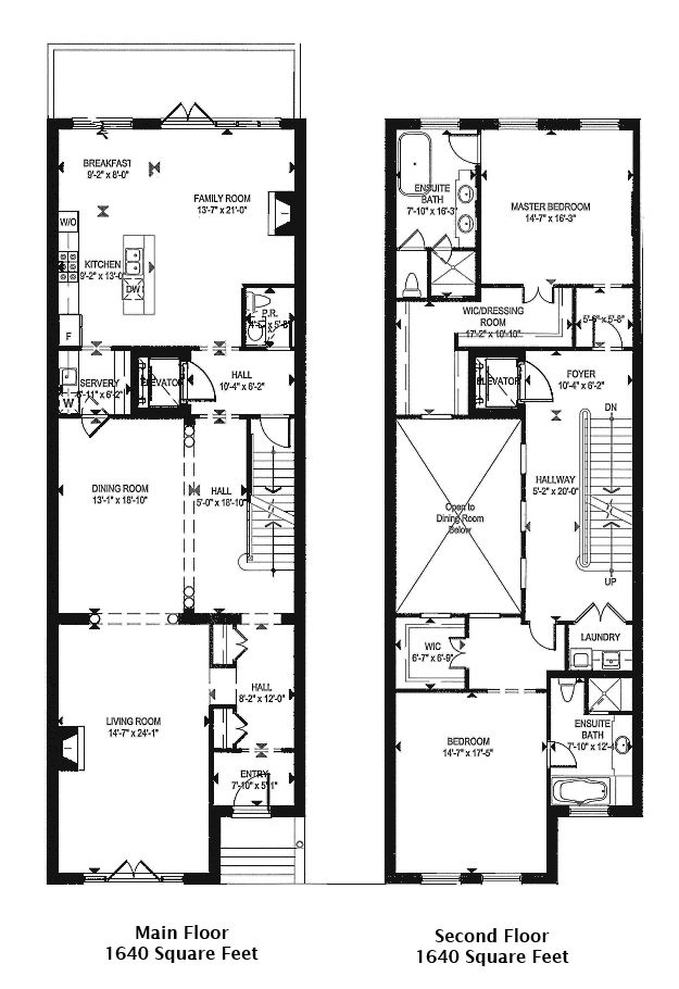 1 st thomas townhouses floor plans b c 4185 square feet for Small townhouse plans