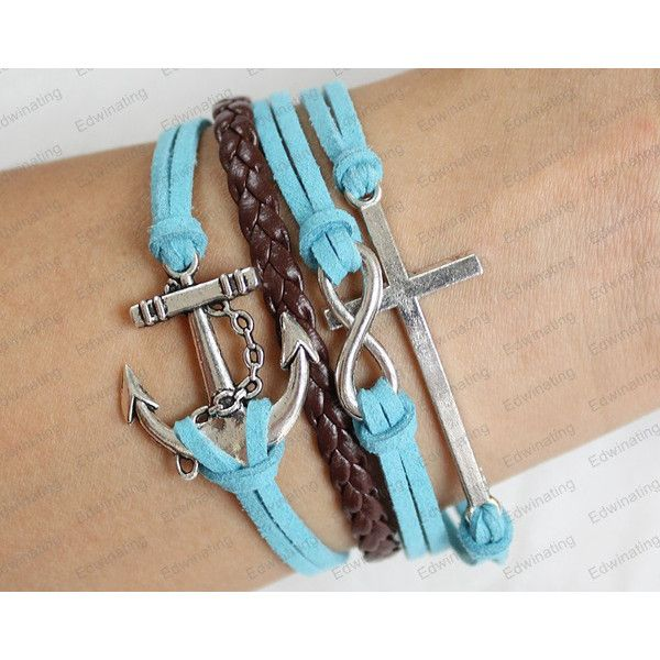 personalized Bracelets -cross leather bracelets blue rope Cross... ($8.99) ❤ liked on Polyvore