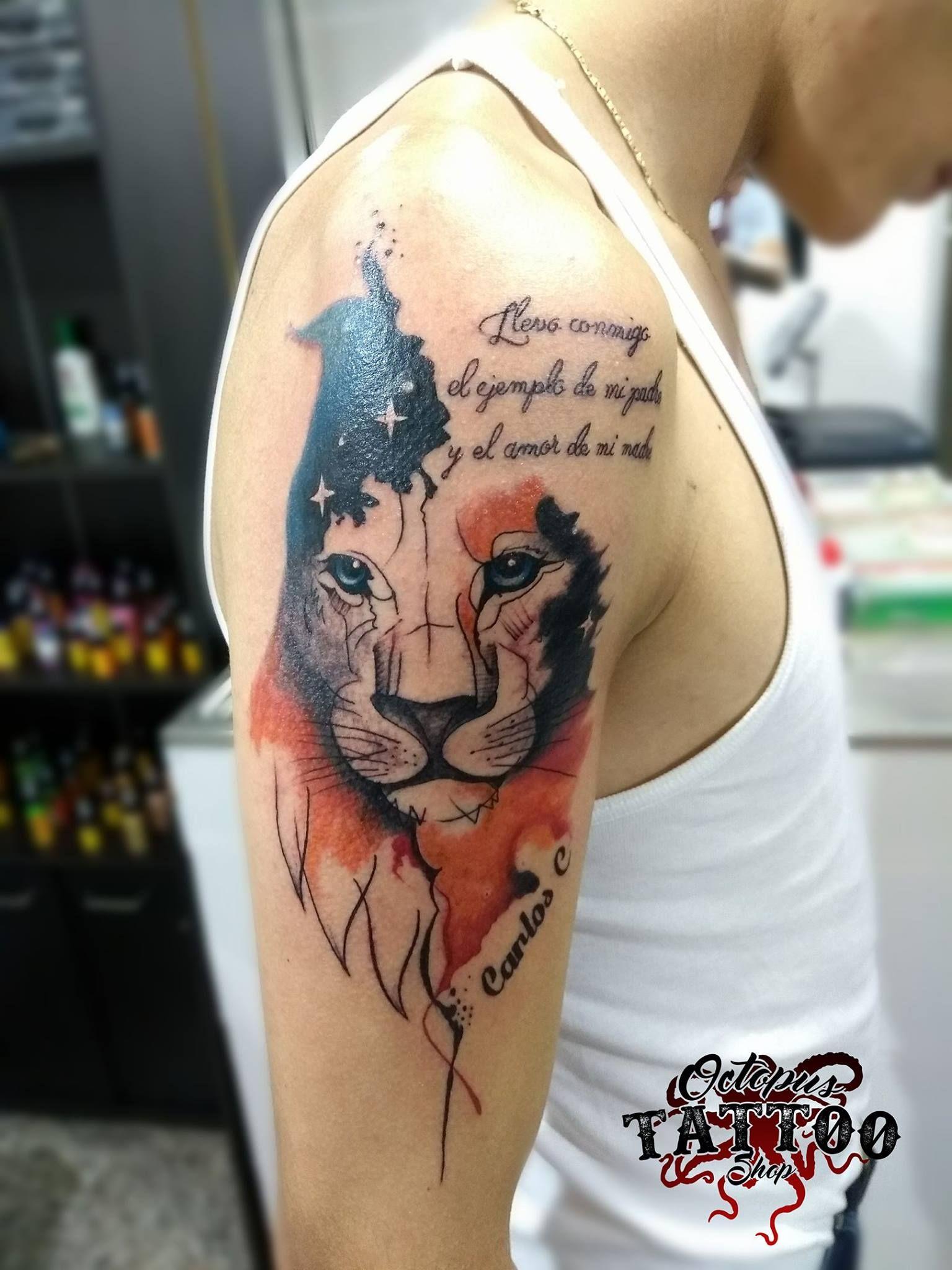 Tatuaje Watercolor Leon Brazo Hombre Lettering Realizado En Octopus