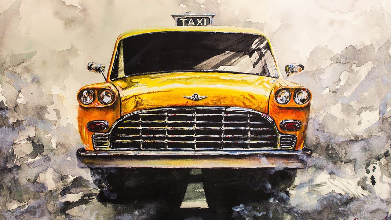 Vintage Taxi Watercolor Painting / Time Lapse Video