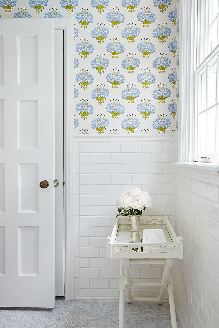 bathroom wallpaper + tile | Home Decor: Bathrooms | Pinterest ...
