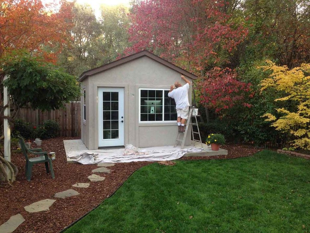Tuff shed down to business with this backyard office for Outside office shed