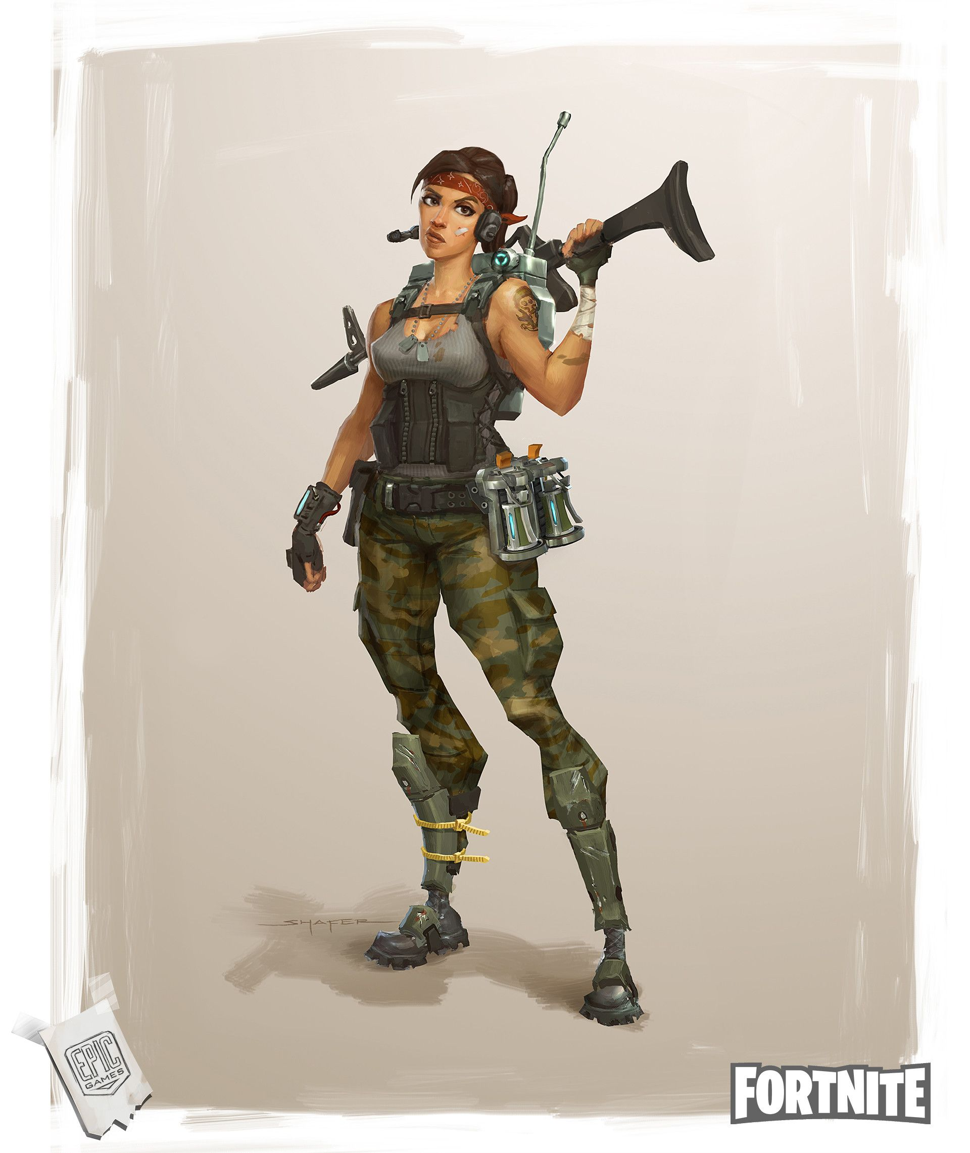 Character Design Where To Start : Artstation fortnite commando concepts ben shafer