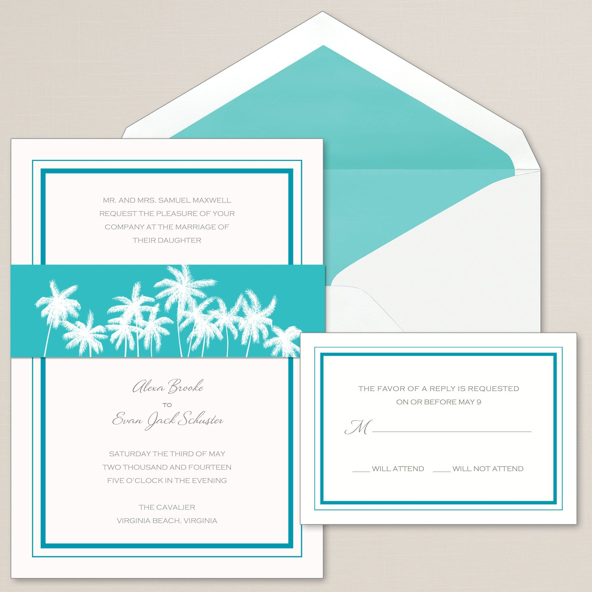 Exclusively Weddings Palm Tree Band Wedding Invitations Is A Beach Design Delicate Of Palms Sway Across The Belly This Tropical Delight