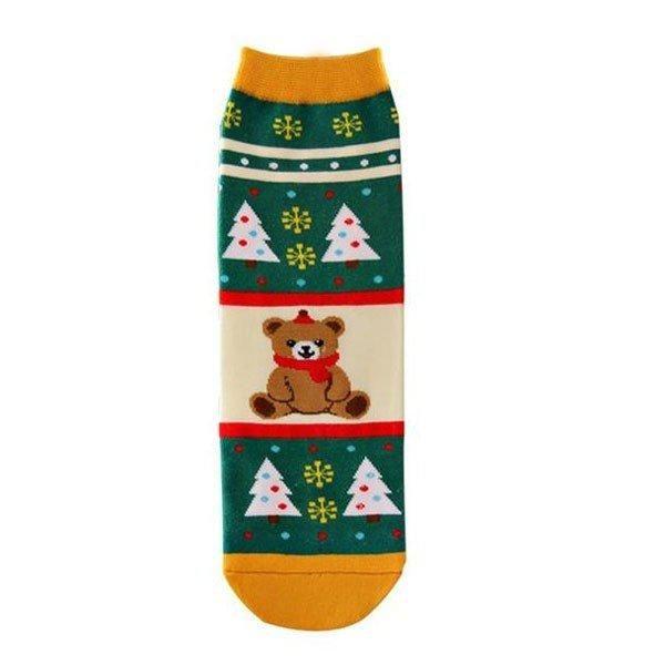 Cotton Christmas Socks Cute Cartoon Edelweiss Deer Snowman Bear Gift Winter Warm Socks
