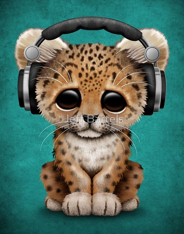 Cute Leopard Cub Dj Wearing Headphones On Blue Jeff