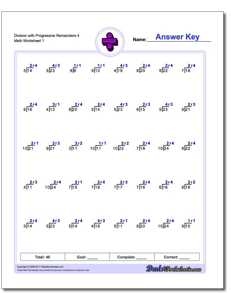 division worksheets with progressive remainders  division  division worksheets with progressive remainders