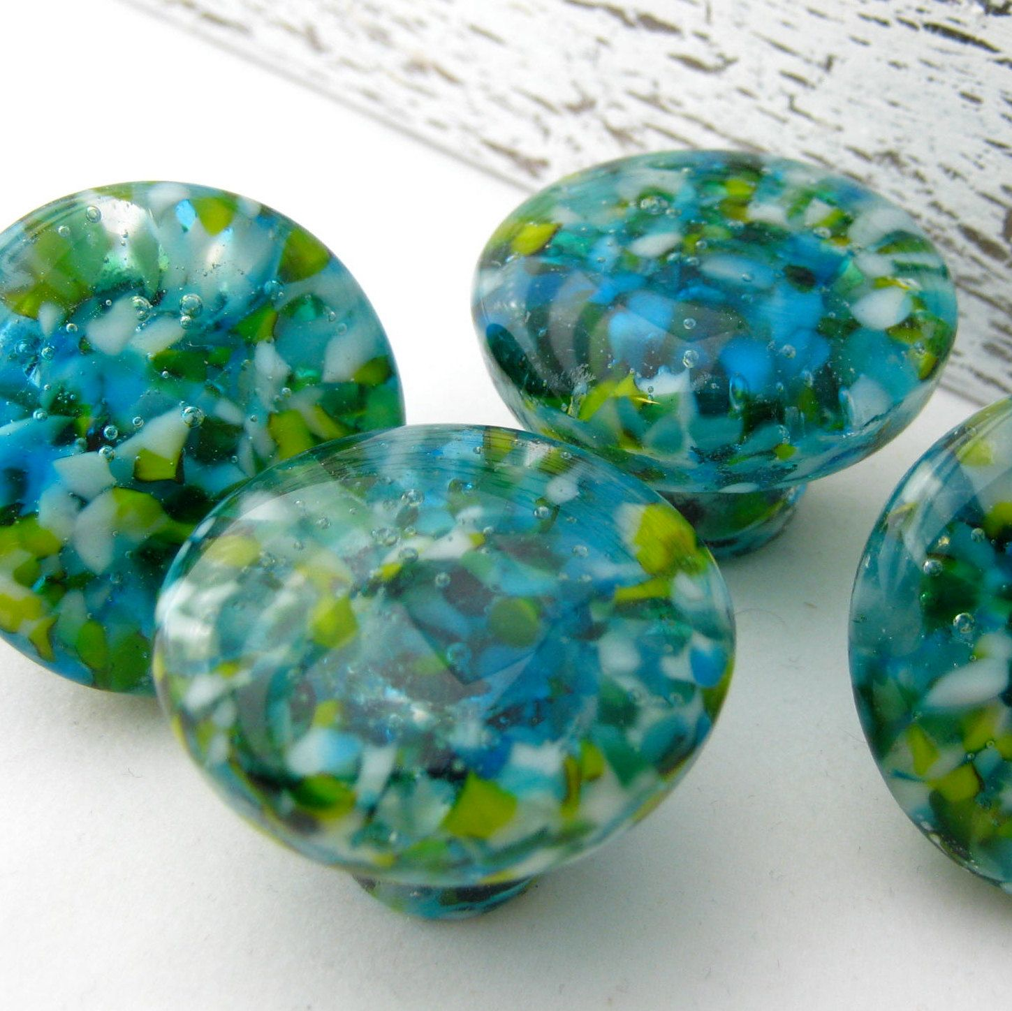 Leisure Lake Fused Glass Cabinet Hardware Was Created From A Bright Beach  Mix Of Transluscent Turquoise, White, Lemongrass, And Teal Suspended In