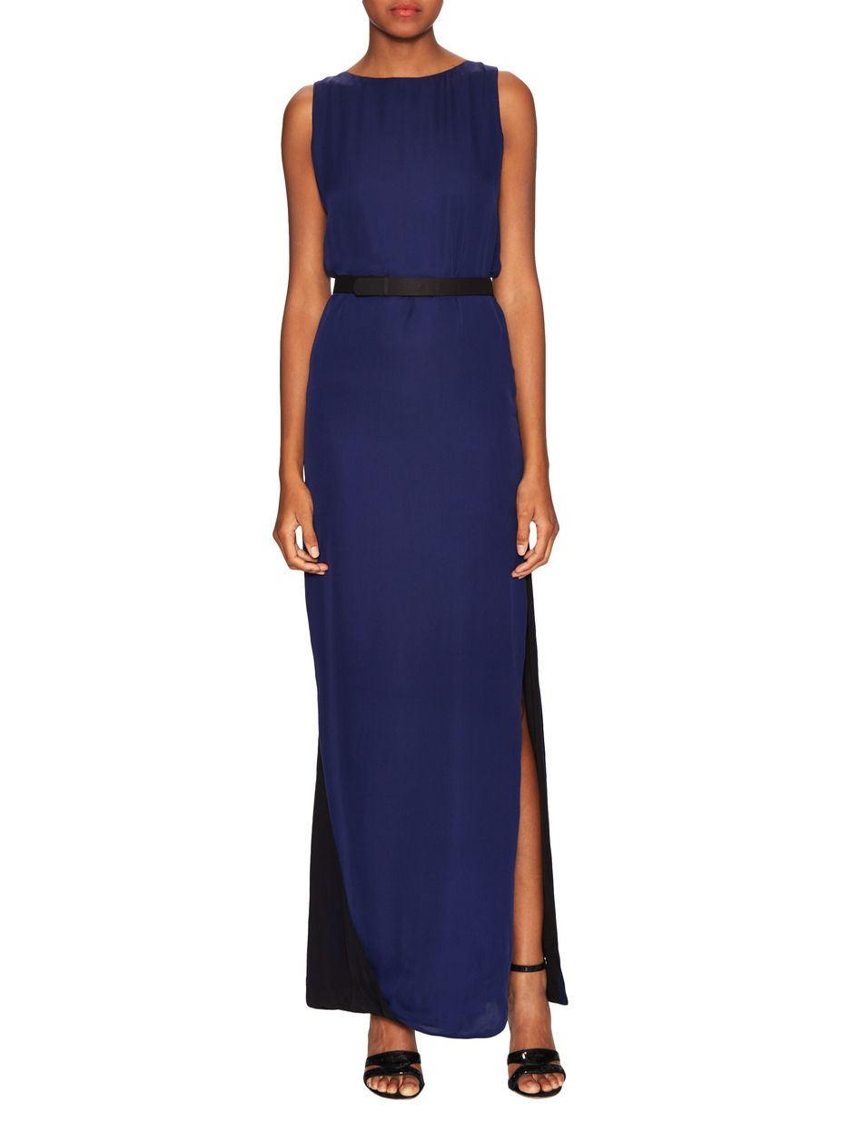 Halston Heritage Contrast Belted Evening Gown   women\'s fashion ...