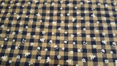 """3 YARDS COTTON FABRIC TAUPE & NAVY CHECK WITH WHITE STAMPED OBJECTS 60"""" WIDE https://t.co/GzMMKIuqus https://t.co/1kutzXYGsX"""
