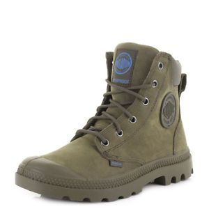 WOMENS PALLADIUM PAMPA CUFF WATERPROOF LUX OLIVE DRAB LEATHER ANKLE BOOTS  SIZE