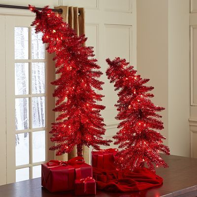 Pre-Lit Red Whimsy Trees I want these so bad!! Love them - christmas clearance decor