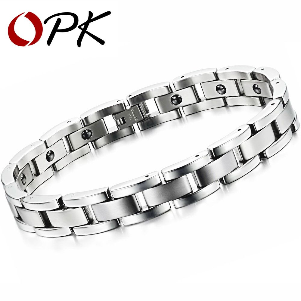 Opk jewelry magnet stone man bracelet classical stainless steel