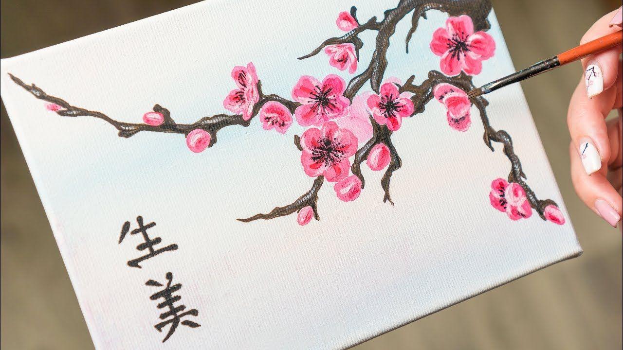 Blooming Sakura Twig - Acrylic painting / Homemade Illustration (4k) - YouTube | Sakura painting, Cherry blossom painting, Cherry blossom painting acrylic