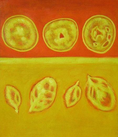 Listy, ovocie, oranžovej, žltej, dekoratívne obraz, obraz do bytu, obraz do interiéru.