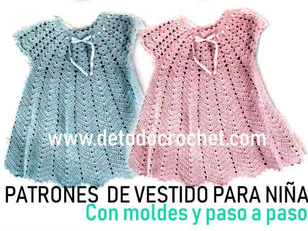 Patrones de vestido para bebés a crochet con moldes y paso a paso #vestidosparabebédeganchillo
