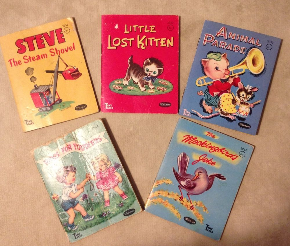 Vintage Set Of 5 Tiny Tales Whitman Children's Books Little Lost Kitten Etc. Old