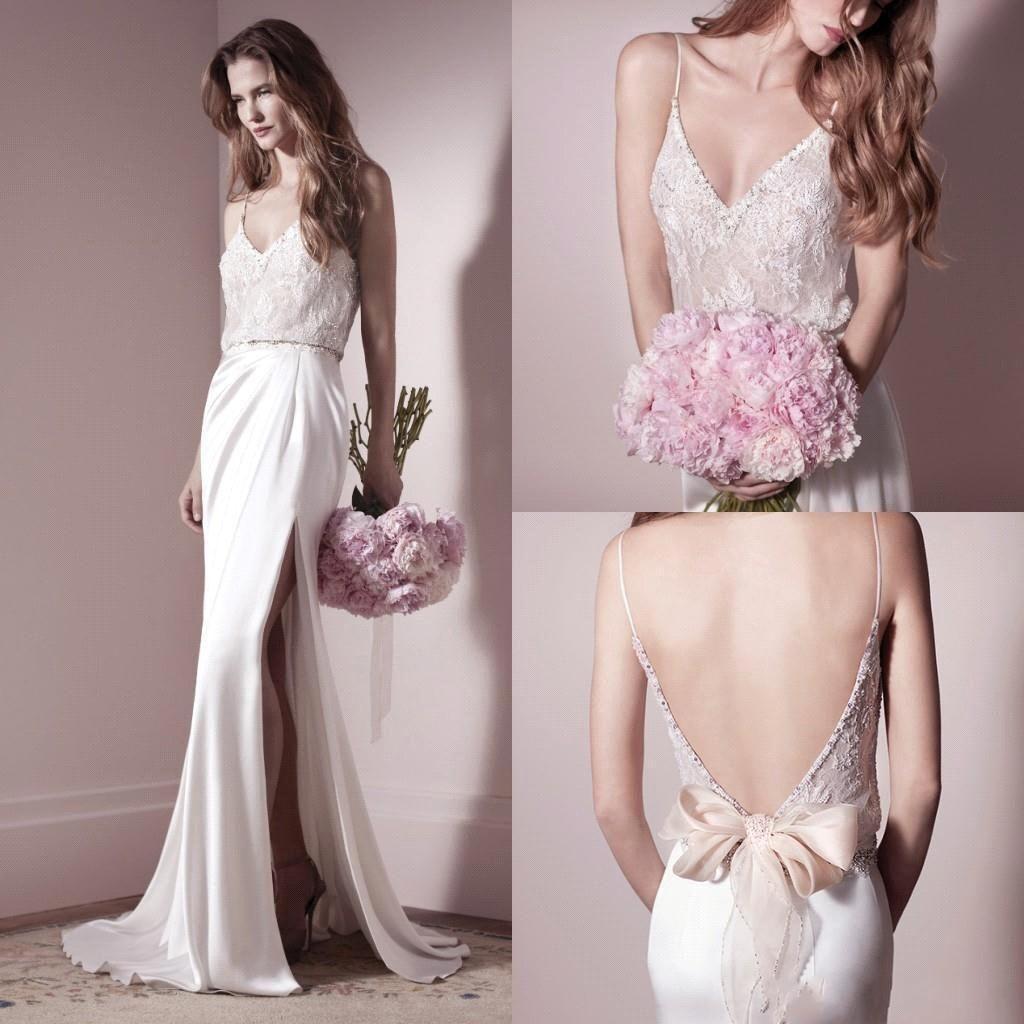 sexy new deep vneck sheath wedding dresses lace beaded top