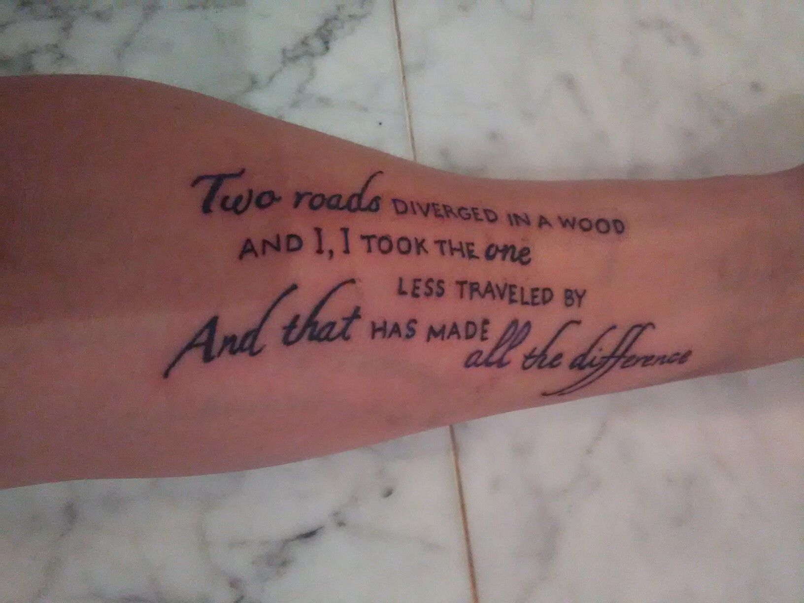 b03c36d42006b Robert Frost - The Road Not Taken Tattoo On my left forearm. | tat ...