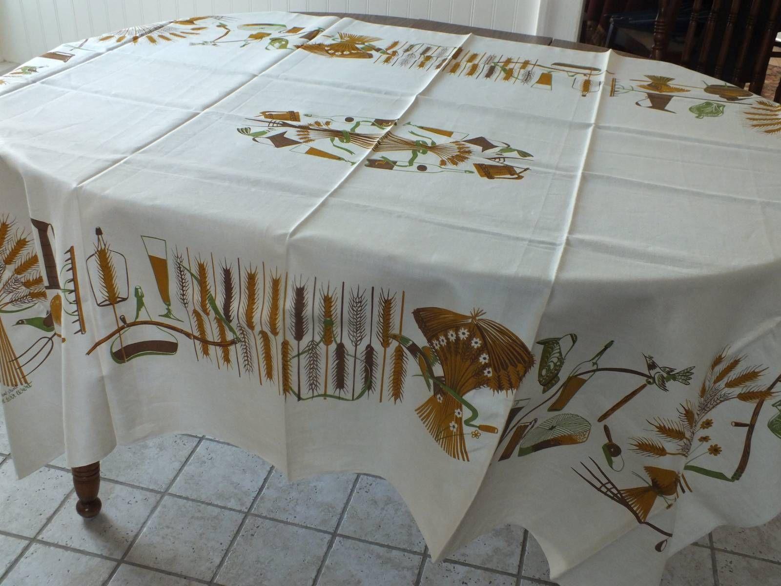 Vtg Tablecloth by Robert Darr Wert Mid Century Modern Eames Era Appx