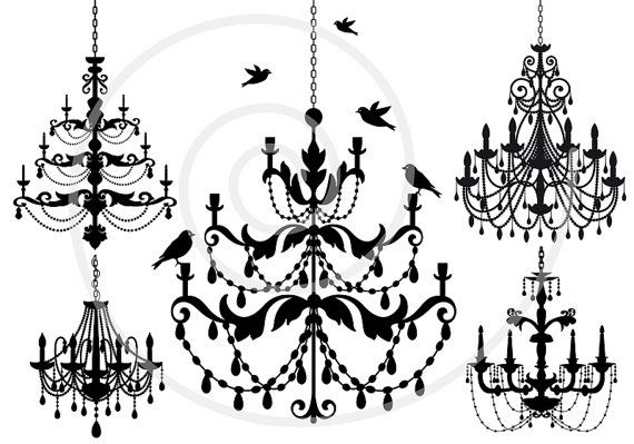 Antique chandelier silhouettes with birds digital clip art clipart antique chandelier silhouettes with birds digital clip art clipart vector download aloadofball Images