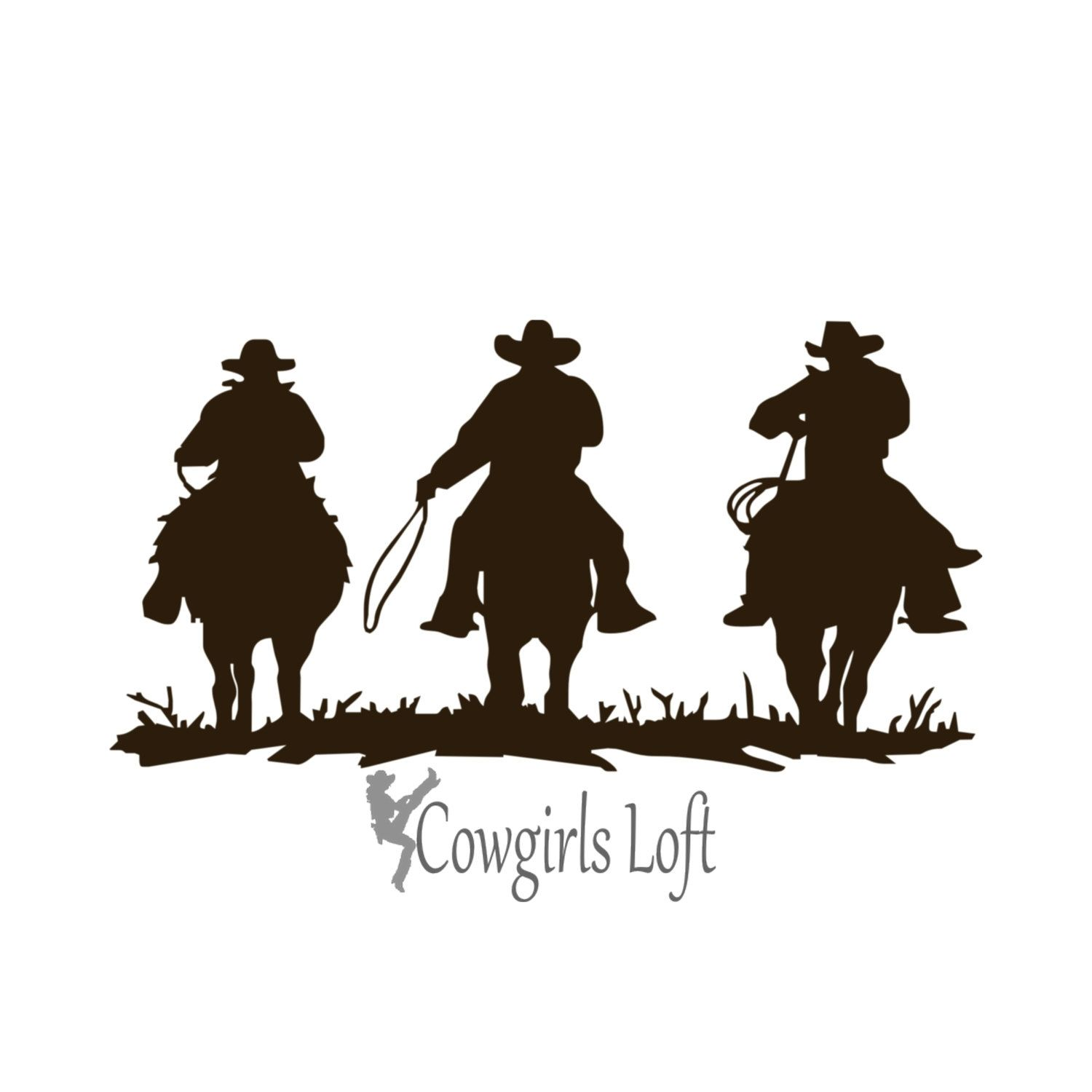 THREE COWBOYS Western Horses Decal  Inch Ships Free USA For - Horse decals for trucks