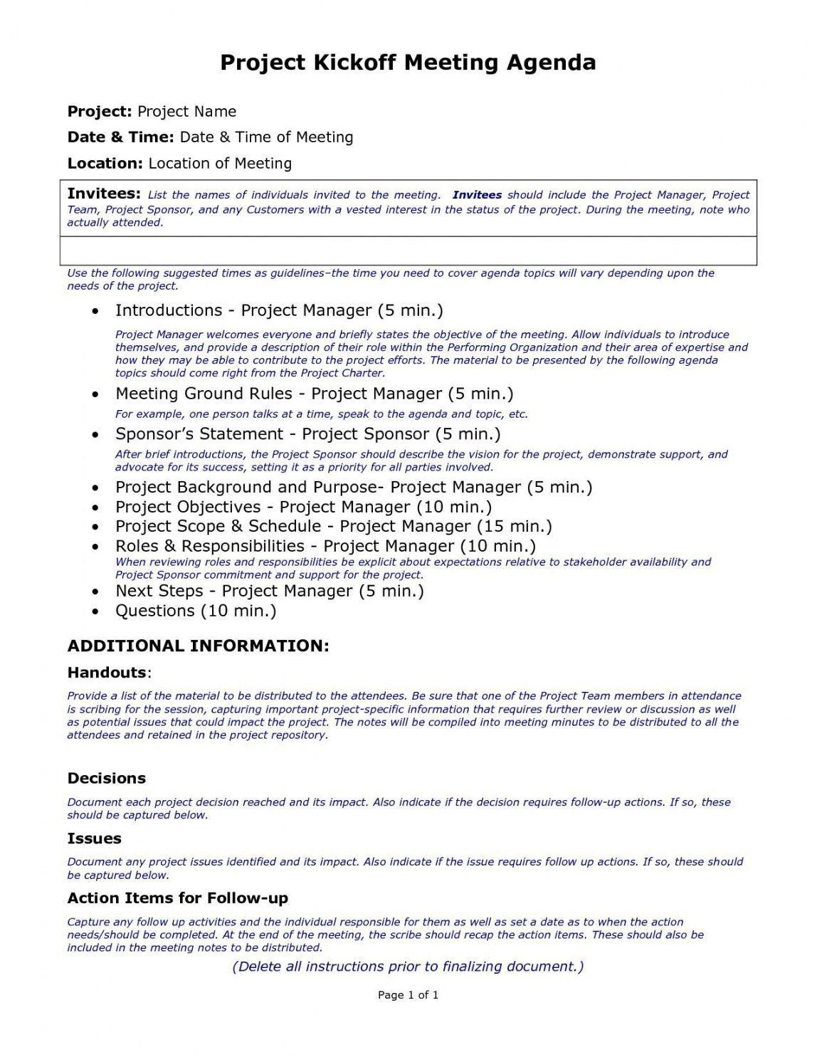 Project Management Kick Off Meeting Agenda Template In 2021 Meeting Agenda Template Meeting Agenda Kickoff Meeting Project management meeting agenda template