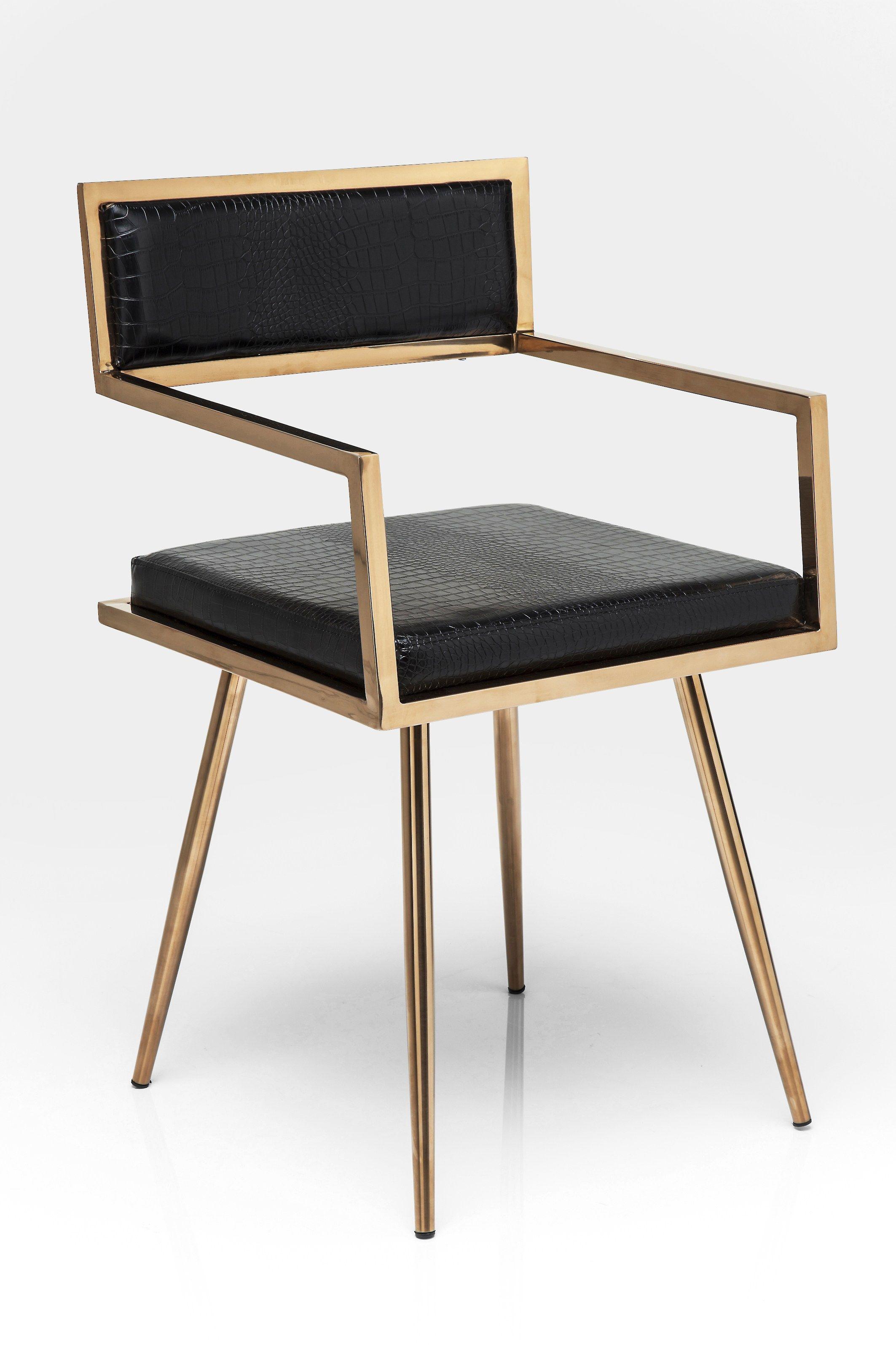 gepolsterter stuhl aus leder mit armlehnen jazz kare design - Design Sthle Fr Wohnzimmer