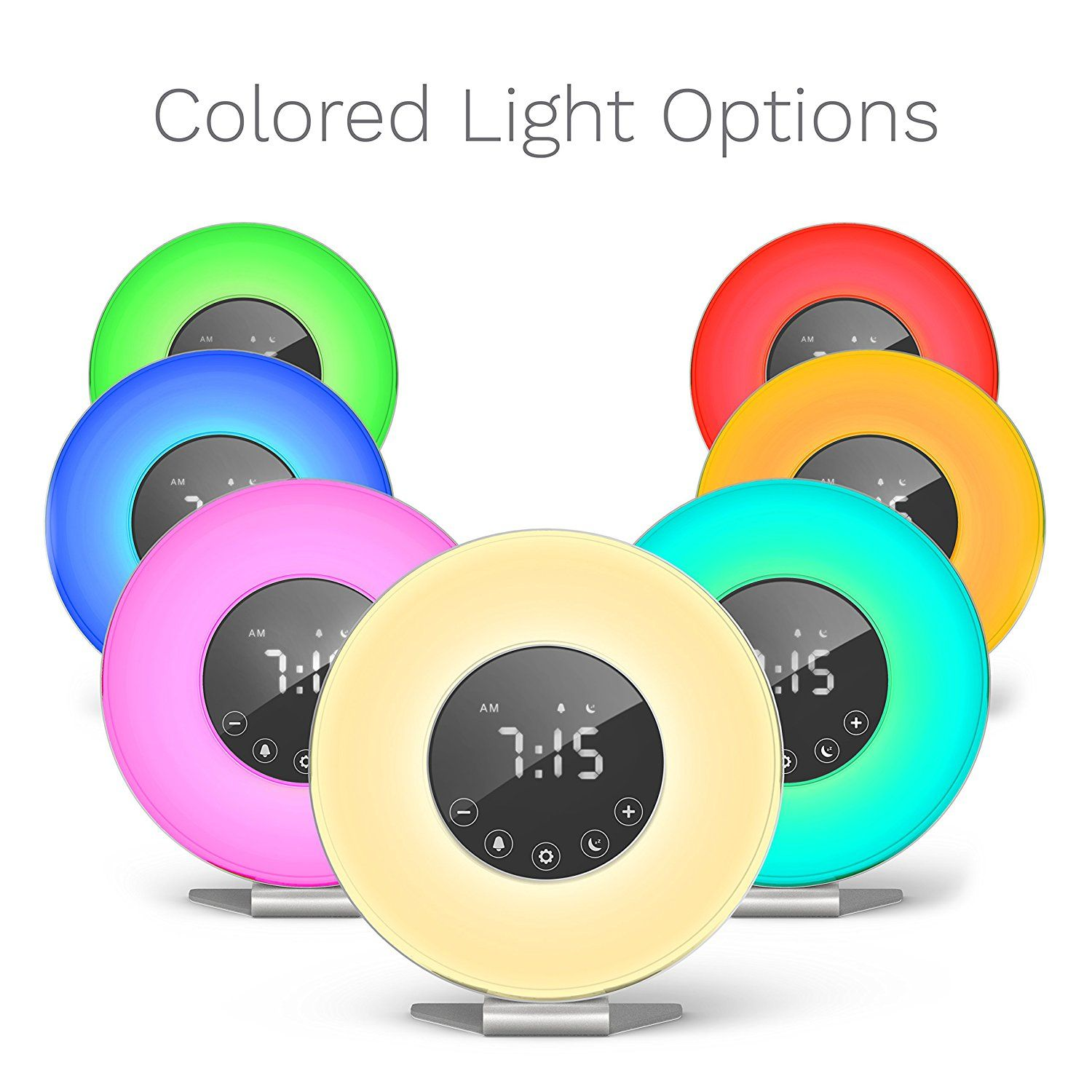 Homelabs Sunrise Alarm Clock Digital Led Clock With 6 Color Switch And Fm Radio For Bedrooms Multiple Nature Sunrise Alarm Clock Led Clock Led Alarm Clock