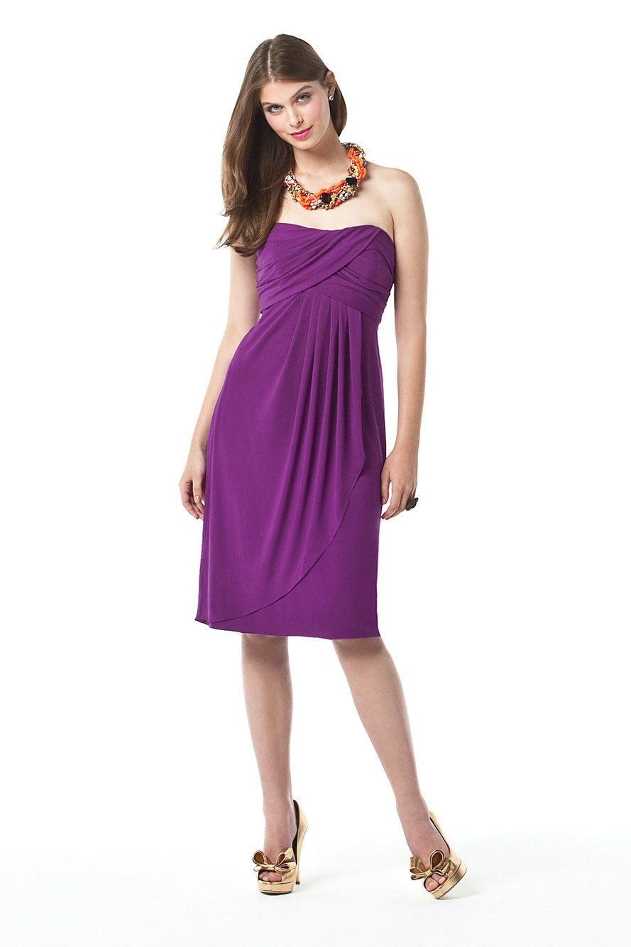 Strapless Pleated Chiffon Short Purple Maternity Bridesmaid Dress 2017 Online