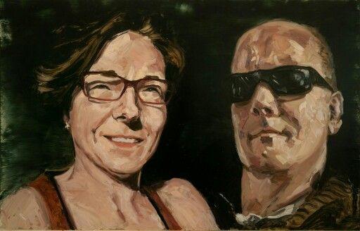 Duo portrait, 45x84cm oil on plexiglas 2013