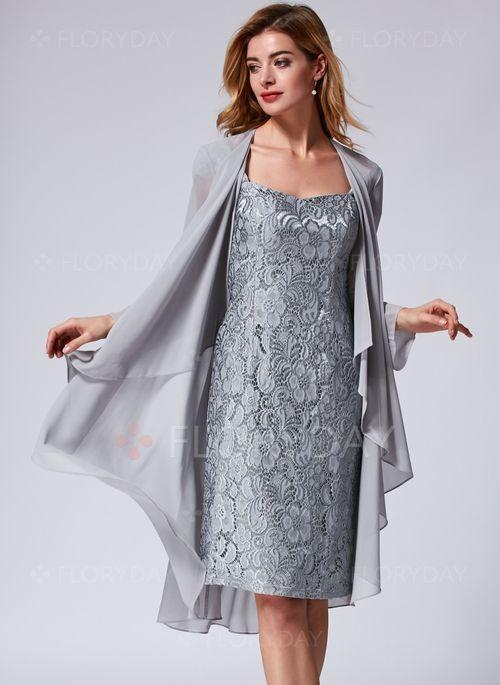 Elegant solide knielang spitze kleider