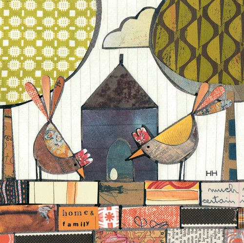 'Home and Family' By Mixed Media Artist Helen Hallows.  Blank Art Cards By Green Pebble.
