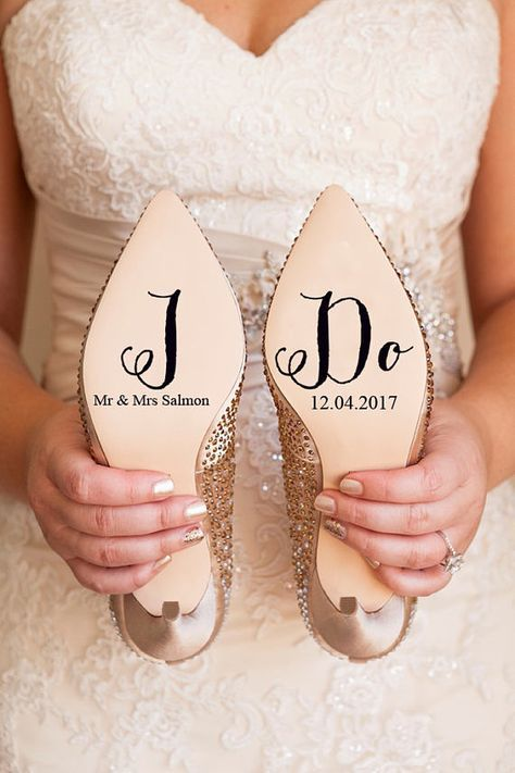 Personalised Wedding Shoe Vinyl Sticker Decal With Name & Date ...