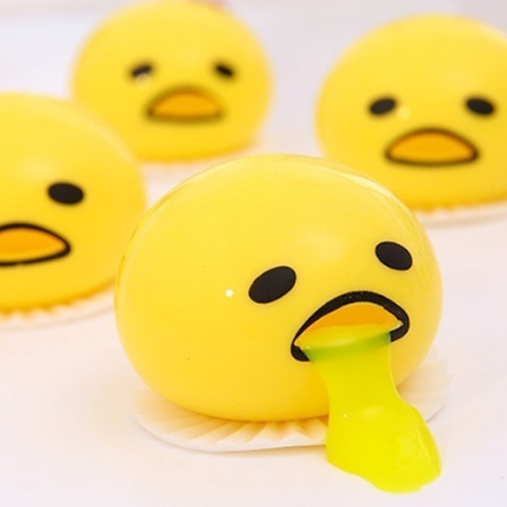 Novelty Toy Egg Yolk Anti Stress Reliever Egg Vomit Joke Ball Squeeze Funny Toys