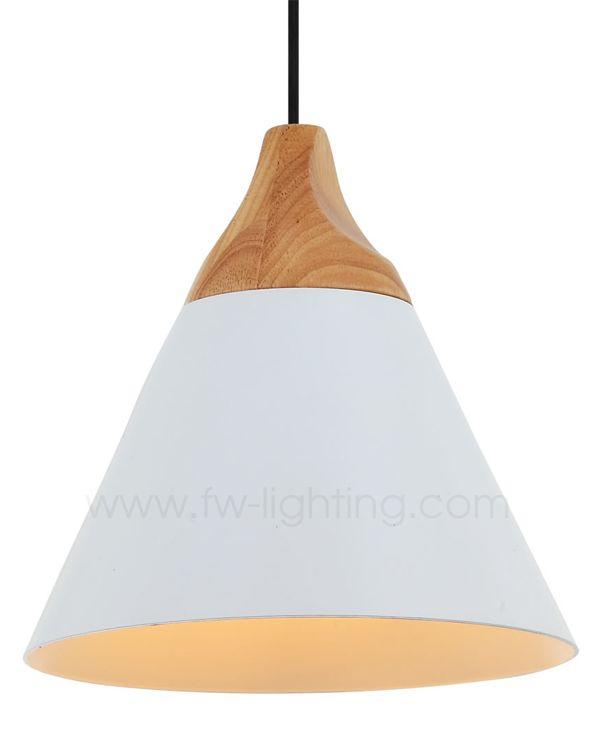 Ineslam, white painted aluminium pendant light, retro industrial design with wood lamp holder MD9034B-W