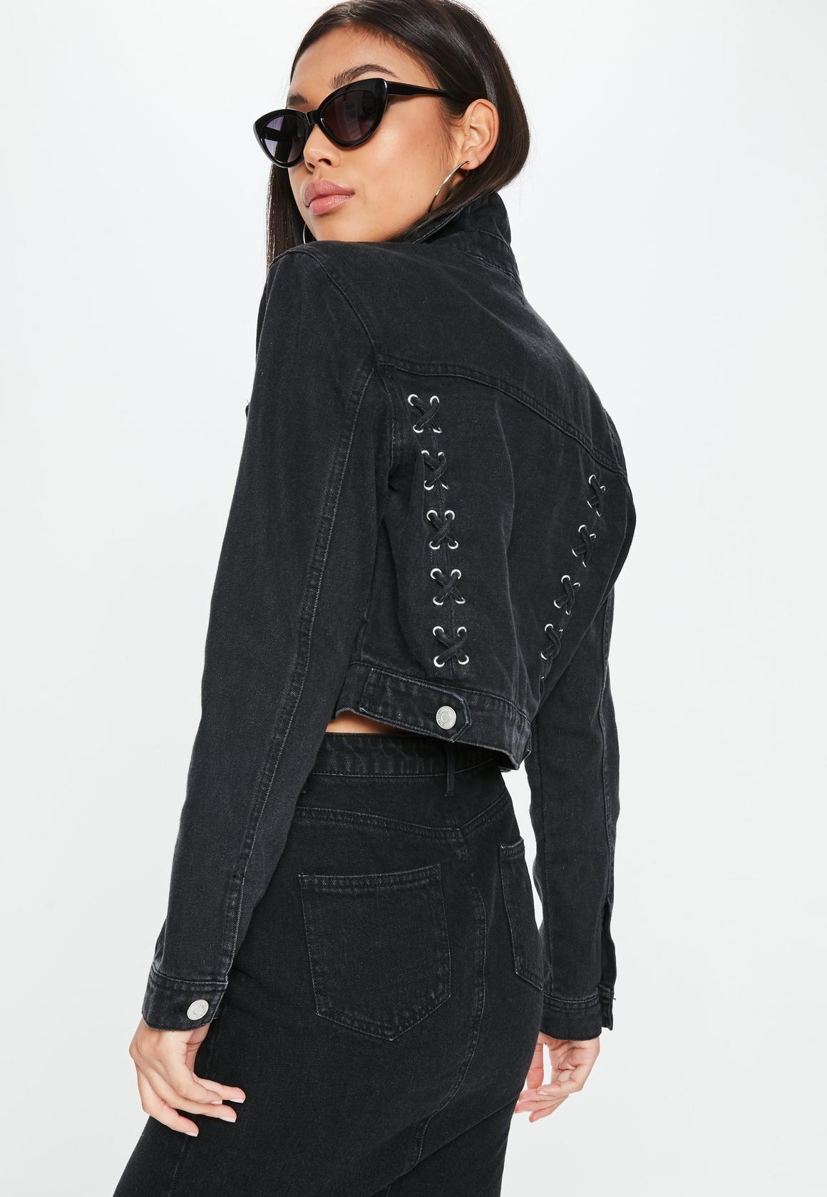 Black Denim Lace Up Back Cropped Jacket Missguided Http Spotpopfashion Com Au6m Coats Jackets Women Denim And Lace Fashion
