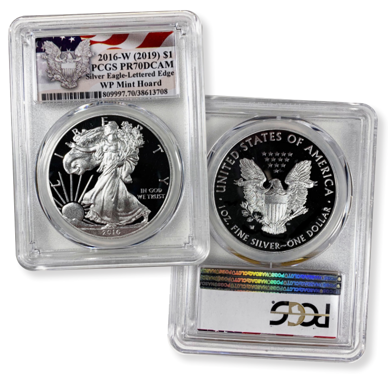 2016 W PROOF SILVER EAGLE PCGS PR70 DCAM GOLD FOIL FIRST DAY OF ISSUE 1 OF 2016
