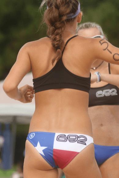 Beach volleyball sand bikini