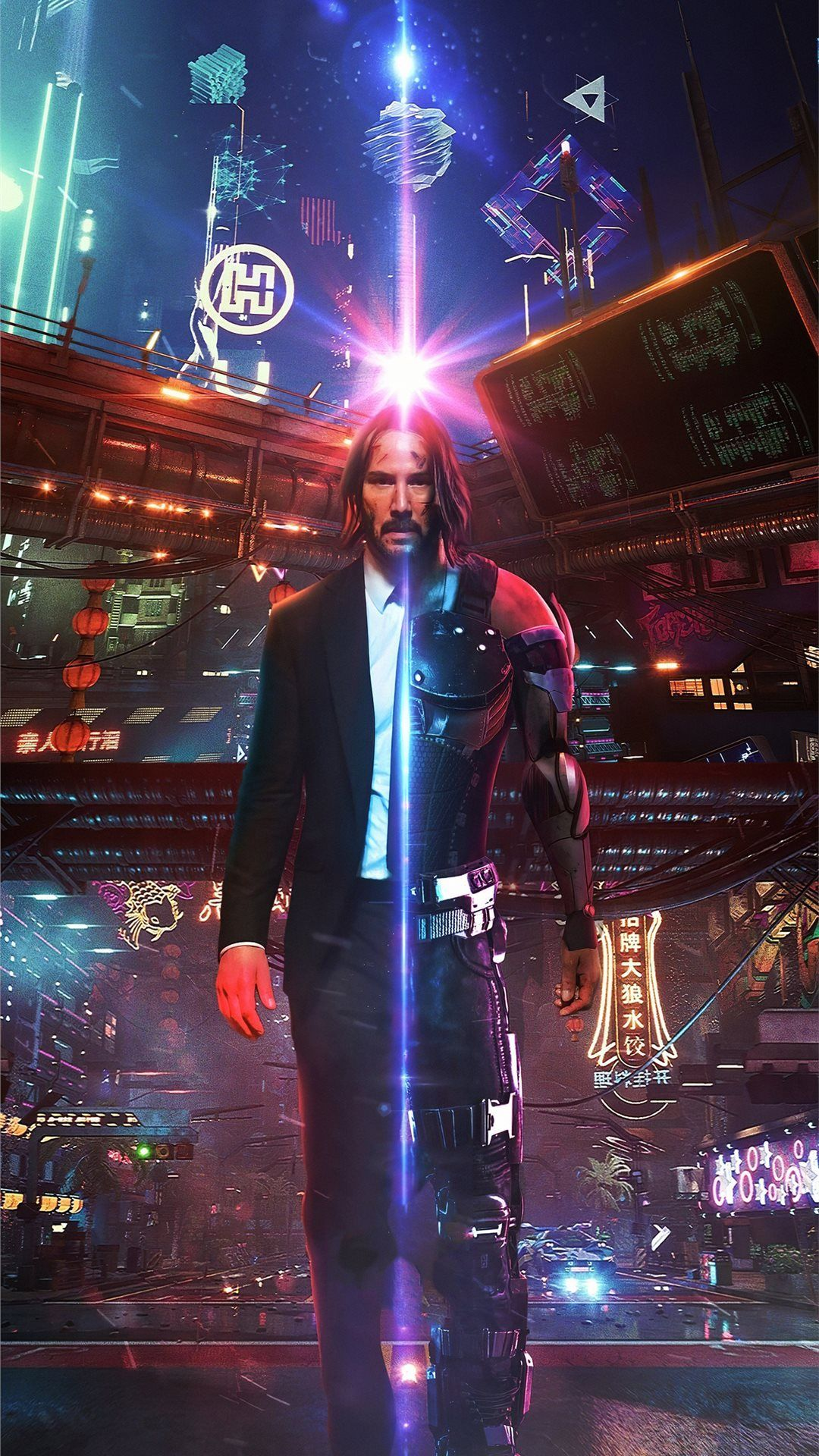john wick as cyberpunk iPhone 8 Wallpapers Cyberpunk