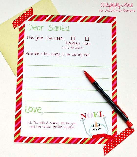 Letter To Santa Free Christmas Printable  A Great Holiday
